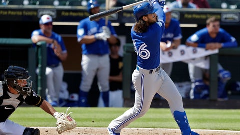 <p>               Toronto Blue Jays' Bo Bichette watches his two-run home run off Pittsburgh Pirates relief pitcher Matt Eckelman during the fourth inning of a spring training baseball game Friday, March 8, 2019, in Bradenton, Fla. Catching for the Pirates is Jacob Stallings. (AP Photo/Chris O'Meara)             </p>
