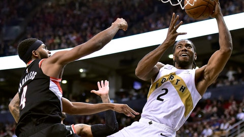 <p>               Toronto Raptors forward Kawhi Leonard (2) shoots as Portland Trail Blazers forward Maurice Harkless (4) defends during the second half of an NBA basketball game Friday, March 1, 2019, in Toronto. (Frank Gunn/The Canadian Press via AP)             </p>