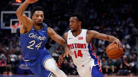 <p>               Detroit Pistons guard Ish Smith (14) drives on Orlando Magic center Khem Birch (24) during the first half of an NBA basketball game Thursday, March 28, 2019, in Detroit. (AP Photo/Carlos Osorio)             </p>