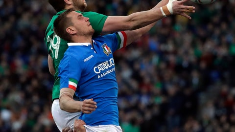 <p>               Italy's Federico Ruzza, front, and Ireland's Iain Henderson jump for the ball for the a line-out during the Six Nations rugby union international between Italy and Ireland at Stadio Olimpico in Rome, Italy, Sunday, Feb. 24, 2019. (AP Photo/Alessandra Tarantino)             </p>