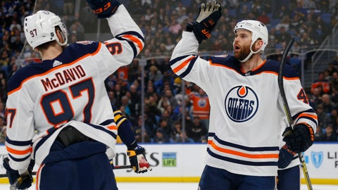 <p>               Edmonton Oilers forwards Connor McDavid (97) and Zack Kassian (44) celebrate a goal during the second period of an NHL hockey game against the Buffalo Sabres, Monday, March 4, 2019, in Buffalo N.Y. (AP Photo/Jeffrey T. Barnes)             </p>