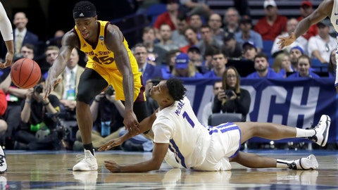 <p>               Buffalo's Montell McRae (1) and Arizona State's Zylan Cheatham (45) chase a loose ball during the first half of a first-round game in the NCAA men's college basketball tournament, Friday, March 22, 2019, in Tulsa, Okla. (AP Photo/Jeff Roberson)             </p>