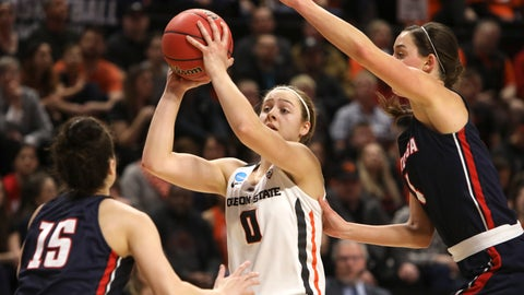 <p>               Oregon State's Mikayla Pivec (0) looks for a way through Gonzaga's Jessie Loera (15) and LeeAnne Wirth (4) during the first half of a second-round game of the NCAA women's college basketball tournament in Corvallis, Ore., Monday, March 25, 2019. (AP Photo/Amanda Loman)             </p>