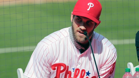 <p>               FILE - In this Saturday, March 2, 2019 file photo, Bryce Harper speaks during a news conference at the Philadelphia Phillies spring training baseball facility in Clearwater, Fla. For years, the NL East has been soft as a bunt single. Not anymore.. Even before Bryce Harper decided to stay in the division, four of the five teams spent this offseason swinging for the fences. In addition to defending champion Atlanta, the New York Mets, Philadelphia Phillies and Washington Nationals all have enough firepower to potentially contend for the playoffs. (AP Photo/Lynne Sladky, File)             </p>
