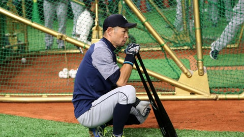 <p>               Seattle Mariners right fielder Ichiro Suzuki waits for batting prior to Game 1 of a Major League opening series baseball game against the Oakland Athletics at Tokyo Dome in Tokyo, Wednesday, March 20, 2019. (AP Photo/Koji Sasahara)             </p>