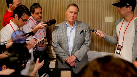 <p>               New England Patriots head coach Bill Belichick speaks to the media during the NFC/AFC coaches breakfast during the annual NFL football owners meetings, Tuesday, March 26, 2019, in Phoenix. (AP Photo/Matt York)             </p>