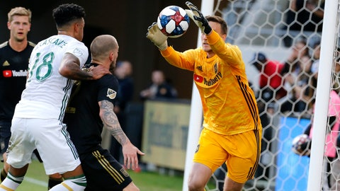 <p>               Los Angeles FC goalkeeper Tyler Miller, right, makes a save against Portland Timbers in the first half of an MLS soccer match in Los Angeles, Sunday, March 10, 2019. (AP Photo/Ringo H.W. Chiu)             </p>