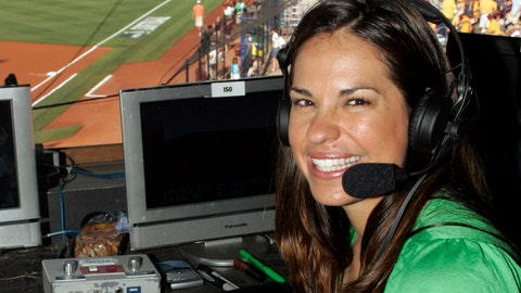 """<p>               FILE - In this May 29, 2009, file photo, USA softball player Jessica Mendoza poses for a photo in the ESPN broadcast booth at the Women's College World Series in Oklahoma City. Mendoza has been hired as a baseball operations adviser for the New York Mets while remaining a broadcaster for ESPN's """"Sunday Night Baseball."""" The move, announced Tuesday, March 5, 2019, is part of an increasing number of television commentators who also work for teams. (AP Photo/File)             </p>"""