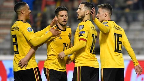 <p>               Belgium's Eden Hazard, 2nd right, celebrates with teammates after scoring his sides second goal during the Euro 2020 Group I qualifying match between Belgium and Russia at the King Baudouin stadium in Brussels on Thursday March 21, 2019. (AP Photo/Geert Vanden Wijngaert)             </p>