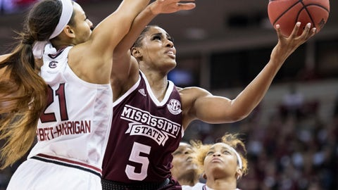<p>               Mississippi State forward Anriel Howard (5) attempts to shoot against South Carolina forward Mikiah Herbert Harrigan (21) during the first half of an NCAA college basketball game Sunday, March 3, 2019, in Columbia, S.C. (AP Photo/Sean Rayford)             </p>