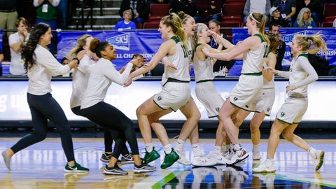 <p>               Portland State celebrates their 61-59 win over Eastern Washington in an NCAA college basketball game in the championship of the Big Sky tournament in Boise, Idaho, Friday, March 15, 2019. (AP Photo/Otto Kitsinger)             </p>