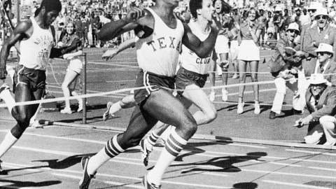 <p>               FILE - In this April 2, 1977, file photo, Olympic gold medal winner Johnny Jones, of the University of Texas, breaks the tape in 9.85 to set a new world record for a hand-timed 100-meter dash event during competition at the Texas relays in Austin, Texas. The former University of Texas wide receiver and track standout, who won an Olympic relay gold medal in 1976, has died after a long bout with cancer, the school announced Friday, March 15, 2019. He was 60.  (AP Photo/Ted Powers, File)             </p>
