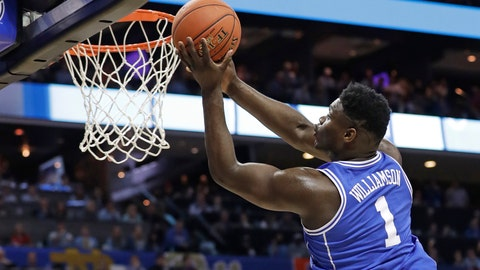 <p>               Duke's Zion Williamson (1) drives to the basket against North Carolina during the first half of an NCAA college basketball game in the Atlantic Coast Conference tournament in Charlotte, N.C., Friday, March 15, 2019. (AP Photo/Chuck Burton)             </p>
