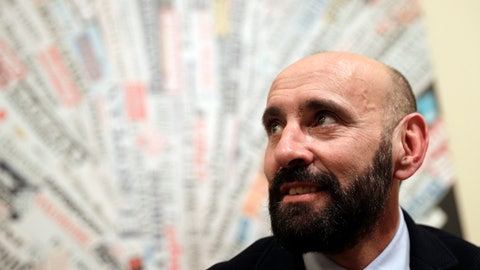 "<p>               FILE - In this file photo dated Wednesday, March 28, 2018, Roma sports director Ramon Rodriguez Verdejo, known as Monchi, talks to journalist during a press conference in Rome. Sevilla said Sunday March 17, 2019,  former sports director Roman ""Monchi"" Rodriguez, the man credited with building several title-winning squads, is returning to his old job. (AP Photo/Andrew Medichini, FILE)             </p>"