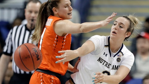 <p>               Notre Dame's Marina Mabrey (3) passes the ball as Syracuse's Tiana Mangakahia (4) defends during the first half of an NCAA college basketball game in the Atlantic Coast Conference women's tournament in Greensboro, N.C., Saturday, March 9, 2019. (AP Photo/Chuck Burton)             </p>