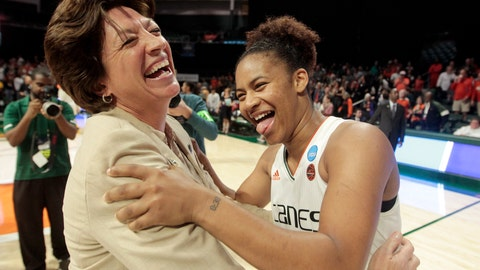 <p>               UM head coach Katie Meier hugs guard Endia Banks (3) after defeating FGCU, during a first round women's college basketball game in the NCAA Tournament in Friday, March 22, 2019, in Coral Gables, Fla. UM defeated FGCU 69-62. (AP Photo/Luis M. Alvarez)             </p>