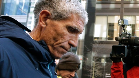 """<p>               William """"Rick"""" Singer founder of the Edge College & Career Network, departs federal court in Boston on Tuesday, March 12, 2019, after he pleaded guilty to charges in a nationwide college admissions bribery scandal. (AP Photo/Steven Senne)             </p>"""