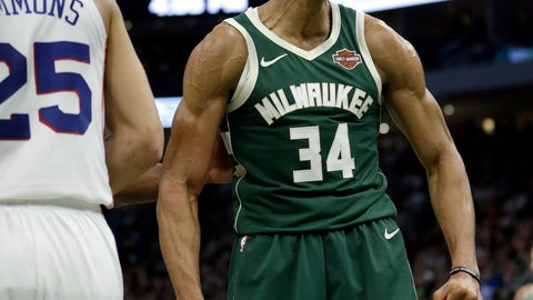 <p>               Milwaukee Bucks' Giannis Antetokounmpo reacts after making a shot during the second half of the team's NBA basketball game against the Philadelphia 76ers on Sunday, March 17, 2019, in Milwaukee. The 76ers won 130-125. (AP Photo/Aaron Gash)             </p>