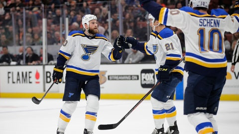 <p>               St. Louis Blues' Ryan O'Reilly, left, celebrates his goal with Tyler Bozak and Brayden Schenn during the first period of the team's NHL hockey game against the Anaheim Ducks on Wednesday, March 6, 2019, in Anaheim, Calif. (AP Photo/Jae C. Hong)             </p>