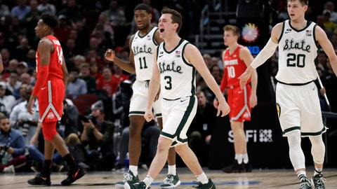 <p>               Michigan State's Foster Loyer (3) celebrates after scoring a 3-point basket during the first half of an NCAA college basketball game against Ohio State in the quarterfinals of the Big Ten Conference tournament, Friday, March 15, 2019, in Chicago. (AP Photo/Nam Y. Huh)             </p>