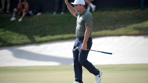 <p>               Francesco Molinari, of Italy, celebrates after sinking a putt for birdie on the 18th green during the final round of the Arnold Palmer Invitational golf tournament Sunday, March 10, 2019, in Orlando, Fla. Molinari won the tournament by two strokes. (AP Photo/Phelan M. Ebenhack)             </p>