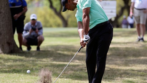<p>               Tiger Woods hits from the rough on the sixth hole during round-robin play at the Dell Match Play Championship golf tournament, Thursday, March 28, 2019, in Austin, Texas. (AP Photo/Eric Gay)             </p>