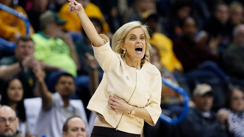 <p>               Baylor head coach Kim Mulkey coaches her team against Kansas State during the first half of an NCAA college basketball game in the Big 12 women's conference tournament in Oklahoma City, Sunday, March 10, 2019. (AP Photo/Alonzo Adams)             </p>
