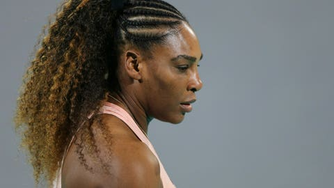 <p>               FILE - In this Dec. 27, 2018 file photo, Serena Williams from the U.S. reacts during a match against her sister Venus, on the opening day of the Mubadala World Tennis Championship in Abu Dhabi, United Arab Emirates. Williams beat Victoria Azarenka 7-5, 6-3 in the second round of the BNP Paribas Open on Friday, March 8, 2019.  Both players returned from maternity leave a year ago at the desert tournament.    (AP Photo/Kamran Jebreili, File)             </p>