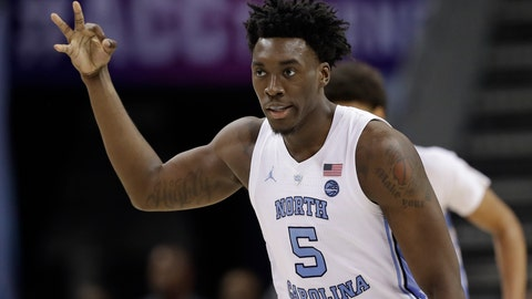 <p>               North Carolina's Nassir Little (5) reacts after making a basket against Louisville during the second half of an NCAA college basketball game in the Atlantic Coast Conference tournament in Charlotte, N.C., Thursday, March 14, 2019. (AP Photo/Chuck Burton)             </p>