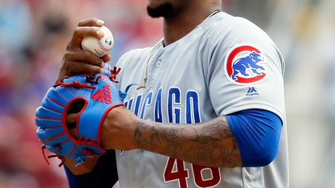 <p>               FILE- In this June 24, 2018, file photo, Chicago Cubs relief pitcher Pedro Strop reacts in the seventh inning of a baseball game against the Cincinnati Reds in Cincinnati. Strop has a strained right hamstring, eliminating the likely candidate to close at the start of the season as Brandon Morrow recovers from elbow surgery. (AP Photo/John Minchillo, File)             </p>