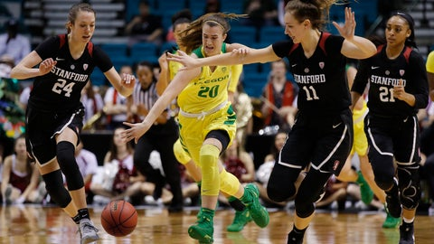 <p>               Oregon's Sabrina Ionescu (20) tries to drive through Stanford's Lacie Hull (24) and Stanford's Alanna Smith (11) during the second half of an NCAA college basketball game in the final of the Pac-12 women's tournament Sunday, March 10, 2019, in Las Vegas. (AP Photo/John Locher)             </p>
