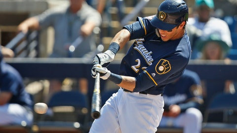 <p>               Milwaukee Brewers' Christian Yelich grounds out in the first inning of a spring training baseball game against the Texas Rangers Tuesday, March 19, 2019, in Phoenix (AP Photo/Sue Ogrocki)             </p>