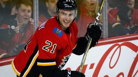 <p>               Calgary Flames' Garnet Hathaway celebrates his goal during first-period NHL hockey game action against the Ottawa Senators in Calgary, Alberta, Thursday, March 21, 2019. (Jeff McIntosh/The Canadian Press via AP)             </p>