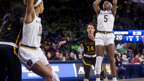 <p>               Notre Dame's Jackie Young (5) goes up for a shot in front of Bethune-Cookman's Angel Golden (24) during a first-round game in the NCAA women's college basketball tournament in South Bend, Ind., Saturday, March 23, 2019. (AP Photo/Robert Franklin)             </p>
