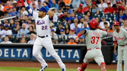 <p>               FILE - In this July 11, 2018, file photo, Philadelphia Phillies' Odubel Herrera (37) beats the throw to first base as New York Mets first baseman Dominic Smith (22) leaps to catch the ball during the fourth inning of a baseball game in New York. Smith, 23, was the 11th overall pick in the 2013 draft, and through it all – from weight issues to low power numbers in the minors to being tardy in spring camp to battling sleep apnea – he appears to have overcome it all and is showcasing the skill set the Mets have been sorely awaiting.  (AP Photo/Frank Franklin II, File)             </p>