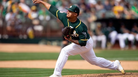 <p>               Oakland Athletics pitcher Frankie Montas delivers against the San Francisco Giants during the ninth inning of an exhibition baseball game, Sunday, March 24, 2019, in Oakland, Calif. The A's defeated the Giants 5-0. (AP Photo/D. Ross Cameron)             </p>