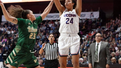 <p>               Connecticut's Napheesa Collier, right, shoots over South Florida's Tamara Henshaw during the first half of an NCAA college basketball game in the American Athletic Conference tournament semifinals, Sunday, March 10, 2019, at Mohegan Sun Arena in Uncasville, Conn. (AP Photo/Jessica Hill)             </p>