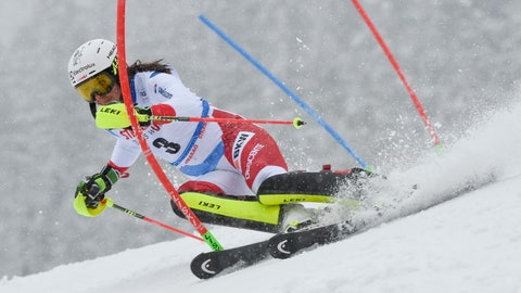 <p>               Switzerland's Wendy Holdener speeds down the course during an Alpine Skiing World Cup women's Slalom, in Spindleruv Mlyn, Czech Republic, Saturday, March. 9, 2019. (AP Photo/Marco Tacca)             </p>