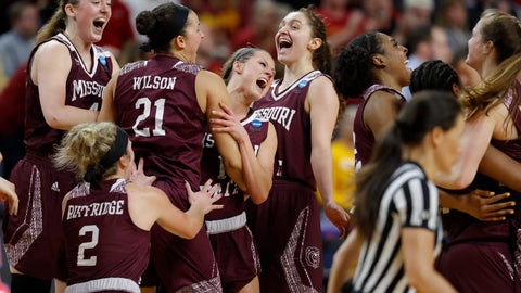 <p>               Missouri State players celebrate after defeating Iowa State 69-60 in a second-round game in the NCAA women's college basketball tournament Monday, March 25, 2019, in Ames, Iowa. (AP Photo/Matthew Putney)             </p>