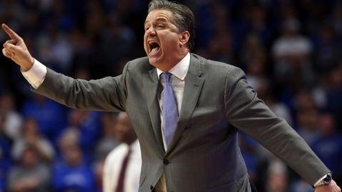 <p>               Kentucky coach John Calipari directs his team during the second half of an NCAA college basketball game against Arkansas in Lexington, Ky., Tuesday, Feb. 26, 2019. Kentucky won 70-66. (AP Photo/James Crisp)             </p>