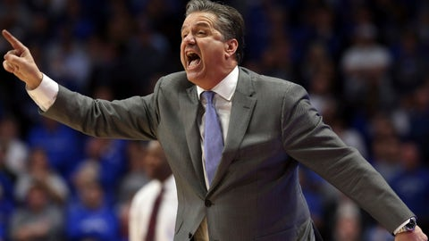 <p>               Kentucky coach John Calipari directs his team during the second half of an NCAA college basketball game against Arkansas in Lexington, Ky., Tuesday, Feb. 26, 2019. Kentucky won 70-66. (AP Photo/James Crisp)             </p>
