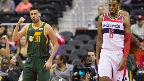 <p>               Utah Jazz forward Georges Niang (31) celebrates his basket near Washington Wizards forward Troy Brown Jr. (6) during the first half of an NBA basketball game Monday, March 18, 2019, in Washington. (AP Photo/Alex Brandon)             </p>