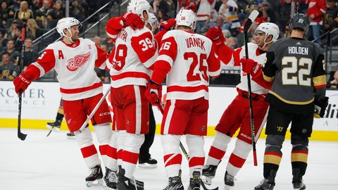 <p>               Detroit Red Wings celebrate after right wing Anthony Mantha scored against the Vegas Golden Knights during the third period of an NHL hockey game Saturday, March 23, 2019, in Las Vegas. (AP Photo/John Locher)             </p>