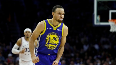 <p>               Golden State Warriors' Stephen Curry reacts after making a basket during the second half of an NBA basketball game against the Philadelphia 76ers, Saturday, March 2, 2019, in Philadelphia. (AP Photo/Matt Slocum)             </p>