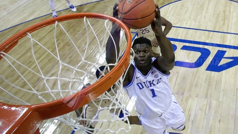 <p>               Duke's Zion Williamson (1) goes up to dunk against Florida State during the first half of the NCAA college basketball championship game of the Atlantic Coast Conference tournament in Charlotte, N.C., Saturday, March 16, 2019. (AP Photo/Chuck Burton)             </p>