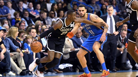 <p>               Brooklyn Nets guard Caris LeVert (22) drives past Oklahoma City Thunder forward Abdel Nader (11) during the first half of an NBA basketball game Wednesday, March 13, 2019, in Oklahoma City. (AP Photo/June Frantz Hunt)             </p>