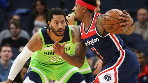 <p>               Washington Wizards' Bradley Beal, right, drives against Minnesota Timberwolves' Derrick Rose in the first half of an NBA basketball game Saturday, March 9, 2019, in Minneapolis. (AP Photo/Jim Mone)             </p>