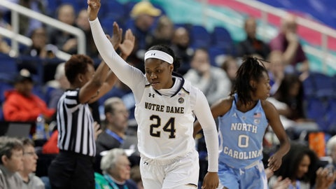 <p>               Notre Dame's Arike Ogunbowale (24) gestures after making a three-point basket against North Carolina during the second half of an Atlantic Coast Conference women's tournament NCAA college basketball game in Greensboro, N.C., Friday, March 8, 2019. (AP Photo/Chuck Burton)             </p>
