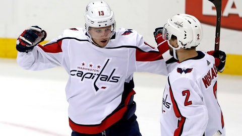 <p>               Washington Capitals' Jakub Vrana (13) celebrates his goal with Matt Niskanen during the first period of an NHL hockey game against the Pittsburgh Penguins in Pittsburgh, Tuesday, March 12, 2019. (AP Photo/Gene J. Puskar)             </p>