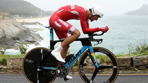 <p>               FILE - In this file photo dated Wednesday, Aug. 10, 2016, Georg Preidler of Austria competes in the men's road cycling individual time trial at the 2016 Summer Olympics in Rio de Janeiro, Brazil.  Professional cycling team Groupama-FDJ said Monday March 4, 2019, that Preidler has admitted to blood doping related to a case which began with the arrests of five skiers. (Bryn Lennon/Pool File Photo via AP)             </p>